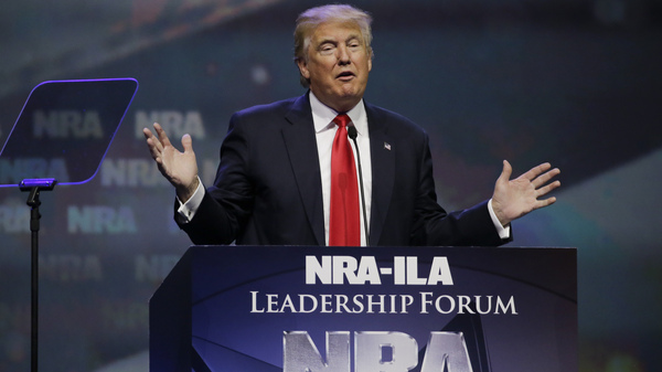 Then-Republican presidential candidate Donald Trump speaks at the National Rifle Association