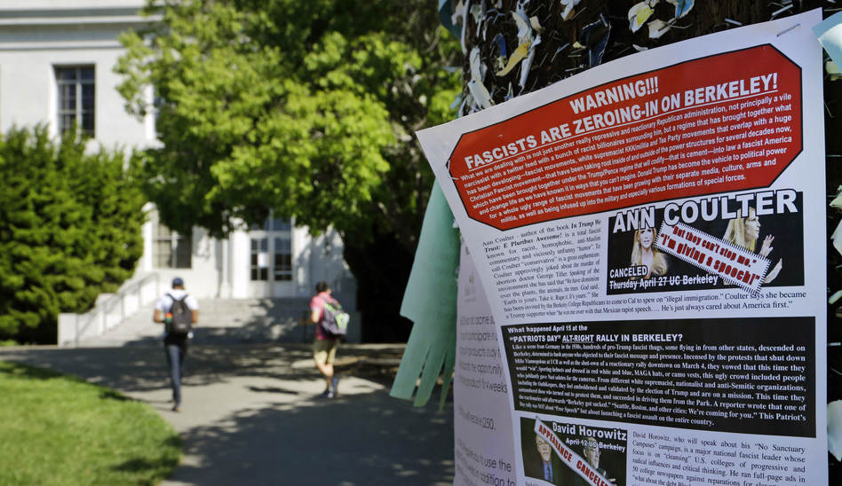 A leaflet is seen stapled to a message board near Sproul Hall on the University of California at Berkeley in Berkeley, Calif. The University of California, Berkeley says it's preparing for possible violence on campus whether Ann Coulter comes to speak or not. (Ben Margot/AP)