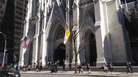 """Pedestrians walk past St. Patrick's Cathedral in New York City. The number of Americans who list their church affiliation as """"none"""" has certainly increased, but more than 70 percent still identify generally as Christian."""