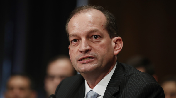 Alexander Acosta testifies last month at his confirmation hearing before the Senate Health, Education, Labor and Pensions Committee. The Senate confirmed Acosta as labor secretary on Thursday.