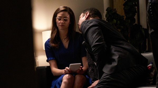 "Emmy Rossum and Harry Lennix in ""The Politician,"" one of the short films in the series #ThatsHarassment."
