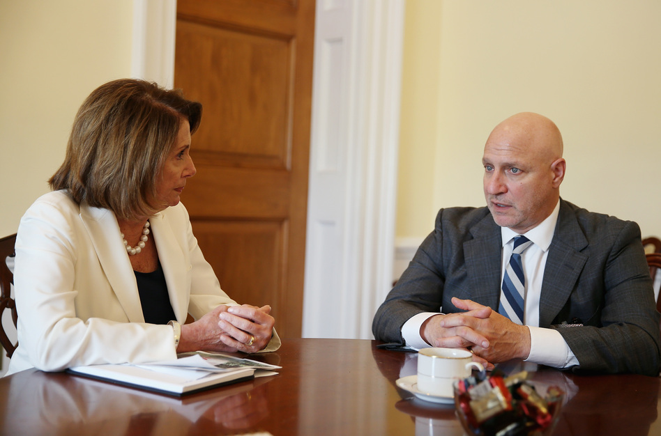 House Minority Leader Nancy Pelosi and celebrity chef Tom Colicchio discuss the farm bill as part of the Plate of the Union campaign on Thursday in Washington, D.C. (Tasos Katopodis/Getty Images for Food Policy Act)