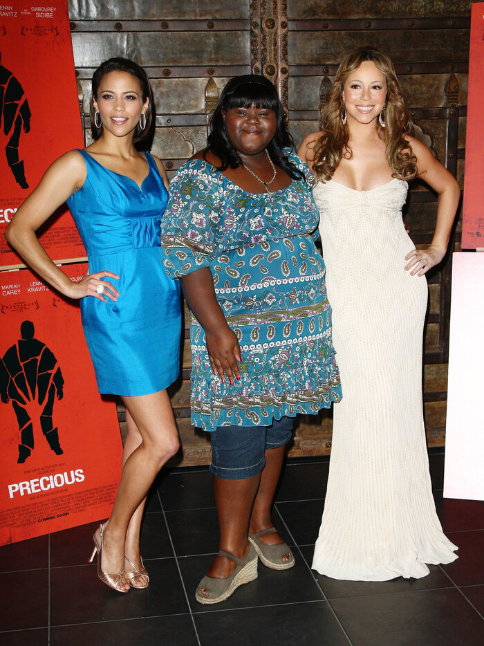 Sidibe attends the 2009 Cannes Film Festival with 'Precious' co-stars Paula Patton and Mariah Carey. She says, 'My whole outfit cost maybe $37.' (Gareth Cattermole/Getty Images)