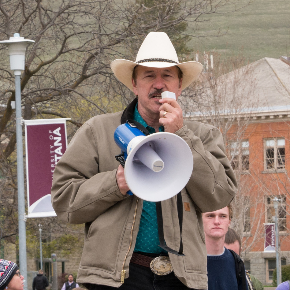 Rob Quist, the Democrat who's running for an open U.S. House race in Montana, campaigns at the University of Montana on April 27, 2017. Quist is a political newcomer who's a well-known country singer in the state. (Josh Burnham/Montana Public Radio)