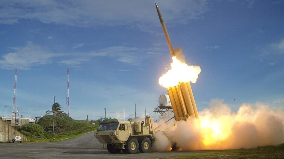 A Terminal High Altitude Area Defense missile interceptor system is now functional at its South Korean site. In this photo from 2013, one of the THAAD systems is seen performing a test launch. (Ralph Scott/U.S. Department of Defense)