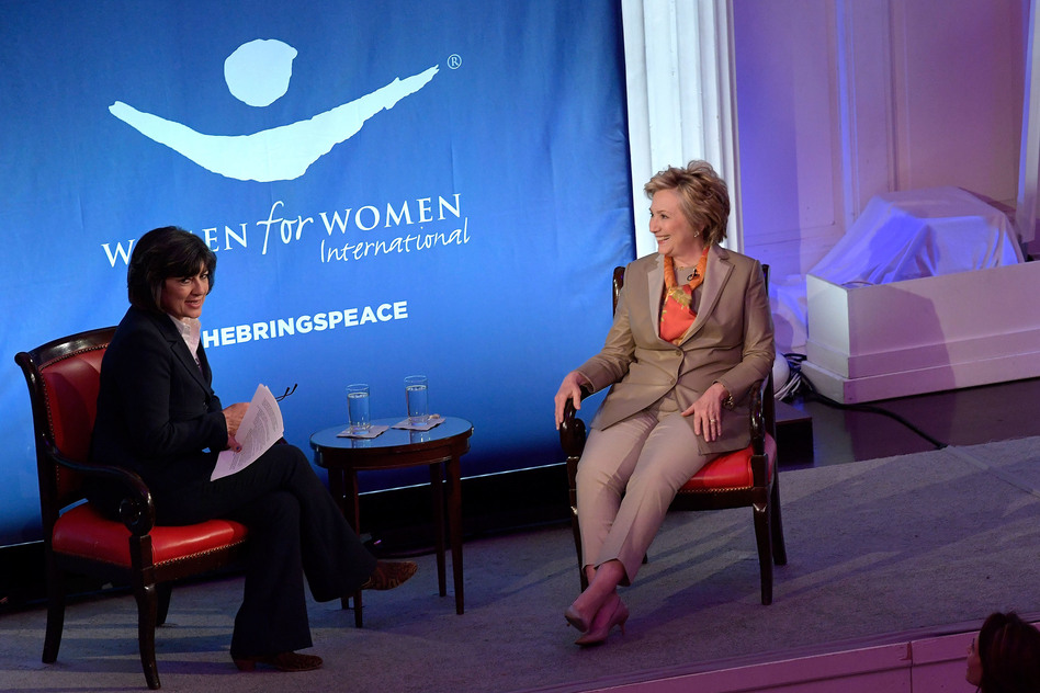 Journalist Christiane Amanpour and former Democratic presidential nominee Hillary Clinton speak during the Women For Women International's luncheon on Tuesday. (Ben Gabbe/Getty Images)