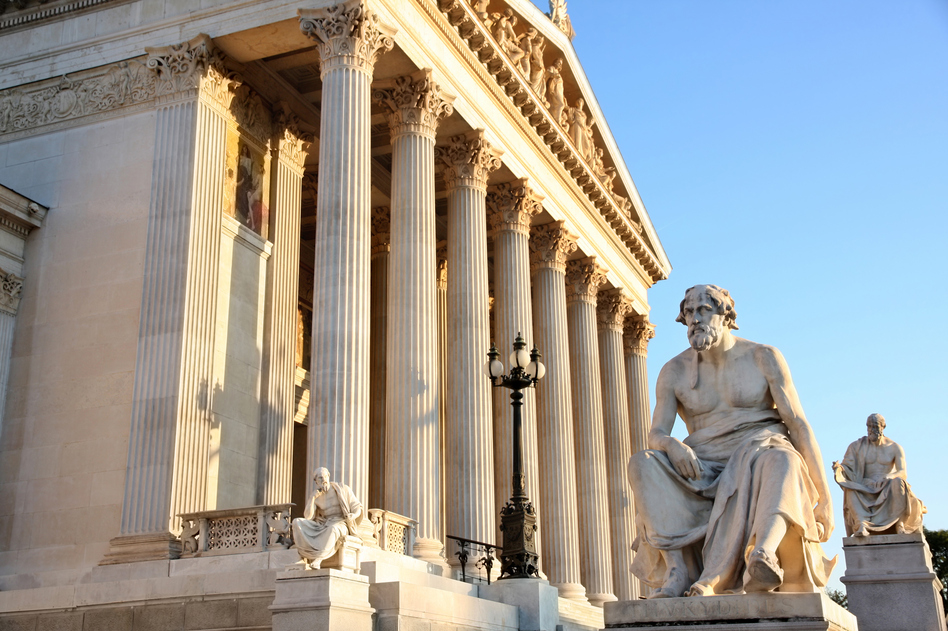A statue of the Greek writer Thucydides sits outside the Austrian capital in Vienna. More than 2,000 years ago, he noted the friction that led to war between an established power, Sparta, and a rising power, Athens. A new book by Harvard professor Graham Allison makes a comparison with the relationship between the U.S. and China. (vladacanon/Getty Images/iStockphoto)