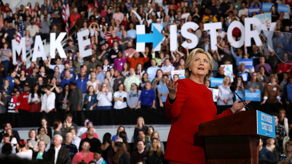 Democratic presidential nominee and former Secretary of State Hillary Clinton speaks during a midnight rally at North Carolina State University hours before the polls opened on Election Day. A glut of late-deciding Trump voters may have contributed to her loss. (Justin Sullivan/Getty Images)