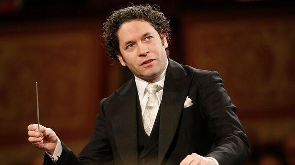 Venezulean conductor Gustavo Dudamel, conducting in Vienna, Austria, in January 2017.