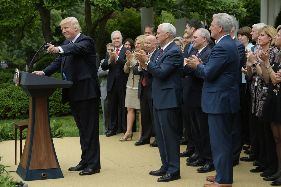 President Trump speaks in the White House Rose Garden following the House passage of the Republican health care bill on Thursday. (Mandel Ngan/AFP/Getty Images)