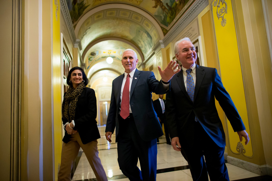 Seema Verma, the administrator of the Centers for Medicare and Medicaid Services, joins Vice President Pence and Health and Human Services Secretary Tom Price on Capitol Hill to advocate for the GOP health overhaul bill. (Eric Thayer/Getty Images)
