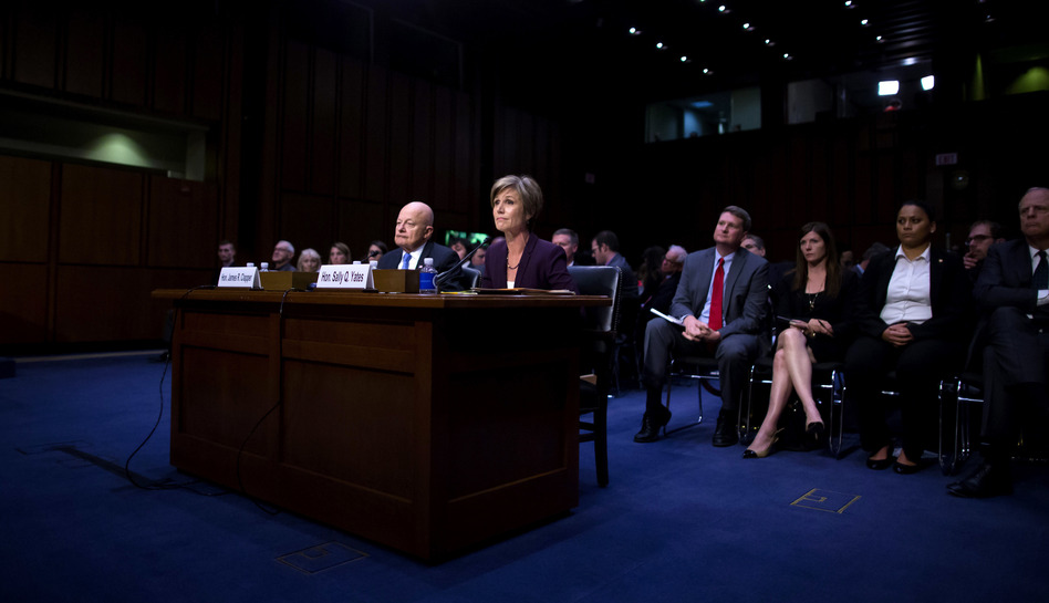 Former Director of National Intelligence James Clapper and former U.S. Deputy Attorney General Sally Yates testify before the Senate Judiciary Committee's Subcommittee on Crime and Terrorism on Capitol Hill on Monday. (Eric Thayer/Getty Images)