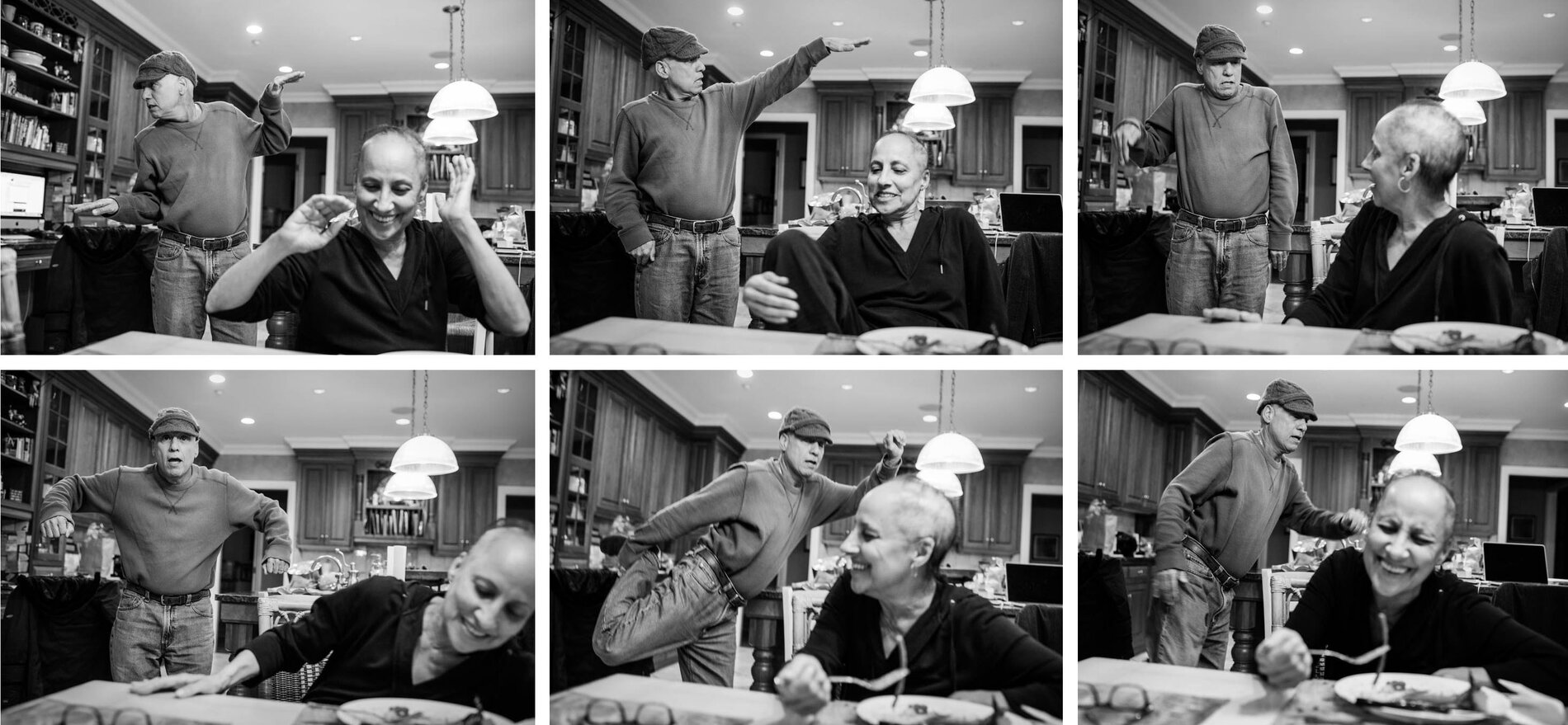 In the kitchen, Dad breaks into a bouncing dance to try to get a smile out of Mom. They often turned to humor to lighten the heavy mood in the home.     (Nancy Borowick)