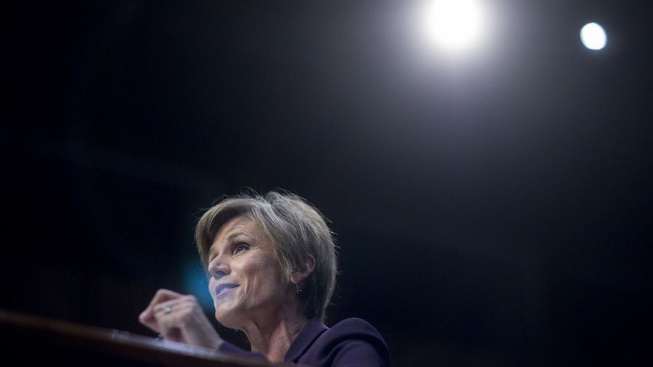 Sally Yates, former acting U.S. attorney general, speaks during a Senate Judiciary subcommittee hearing on Monday. (Bloomberg via Getty Images)