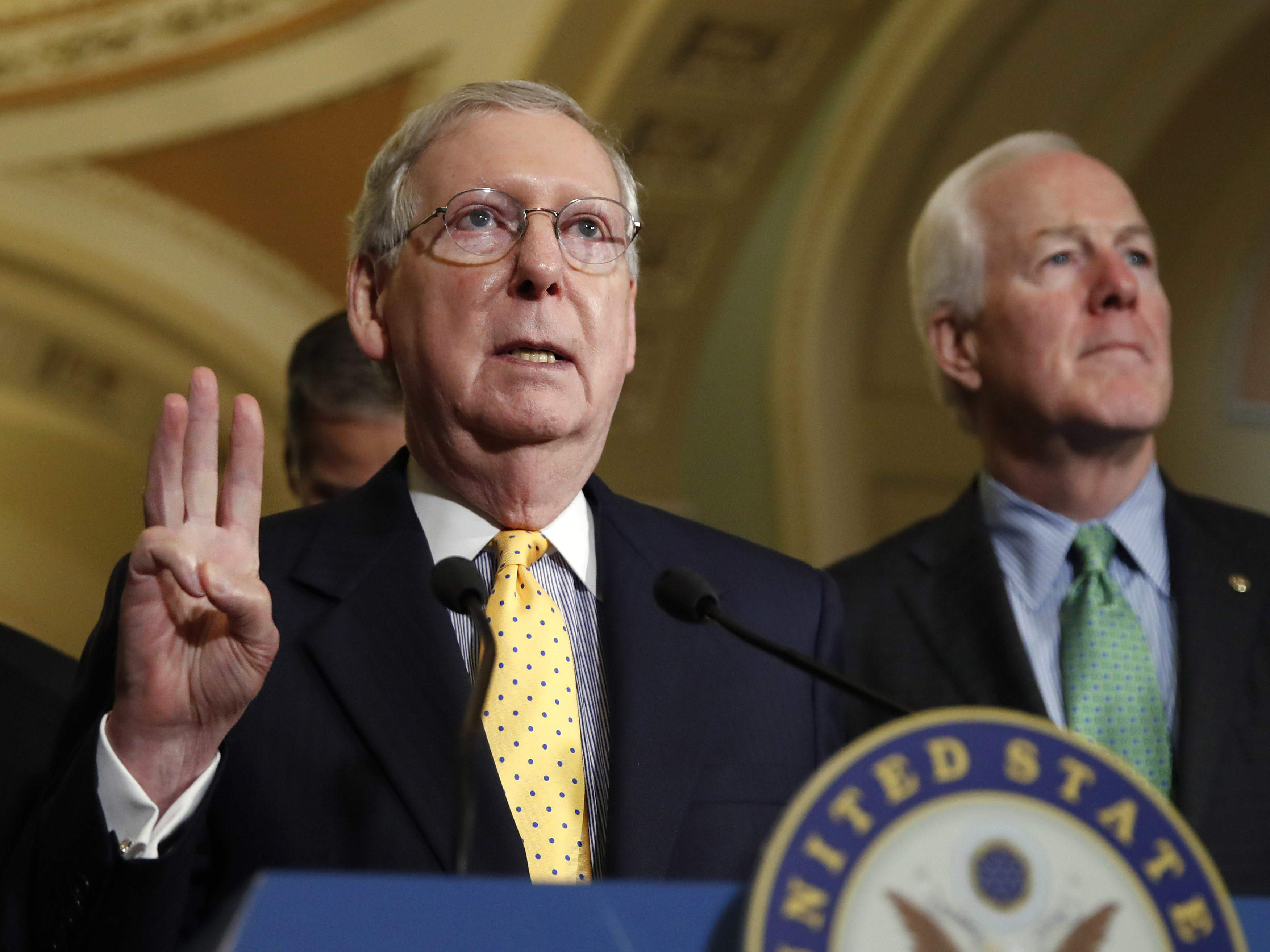 Senate Majority Leader Mitch McConnell of Kentucky speaks to members of the media on Tuesday. On the floor Wednesday, he challenged the Democrats' outcry over Comey's firing. (Jacquelyn Martin/AP)