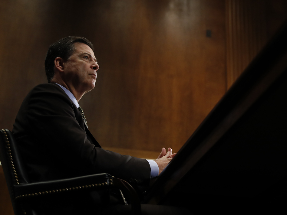 Then-FBI Director James Comey testifies during a Senate Judiciary Committee hearing on May 3. Comey was fired May 9 after more than a year of controversy surrounding the FBI's investigation into Hillary Clinton's email server. (Carolyn Kaster/AP)