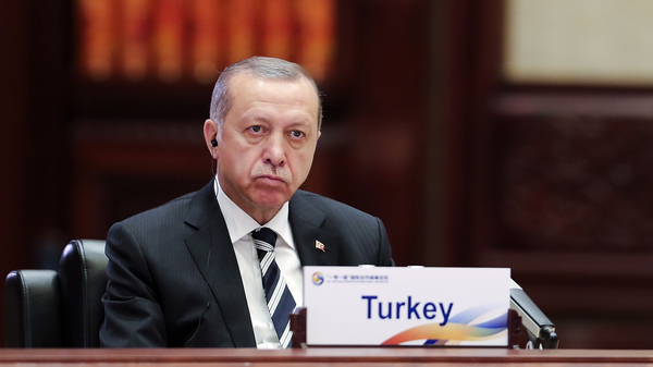 Turkish President Recep Tayyip Erdogan attends a summit in Beijing on Monday. He
