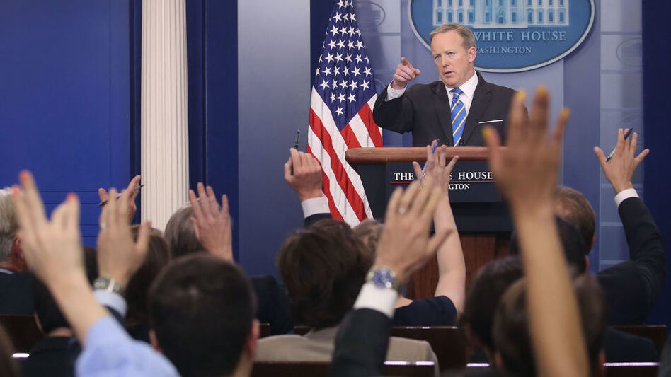 White House Press Secretary Sean Spicer speaks to reporters during the daily press briefing on Monday. (Mark Wilson/Getty Images)