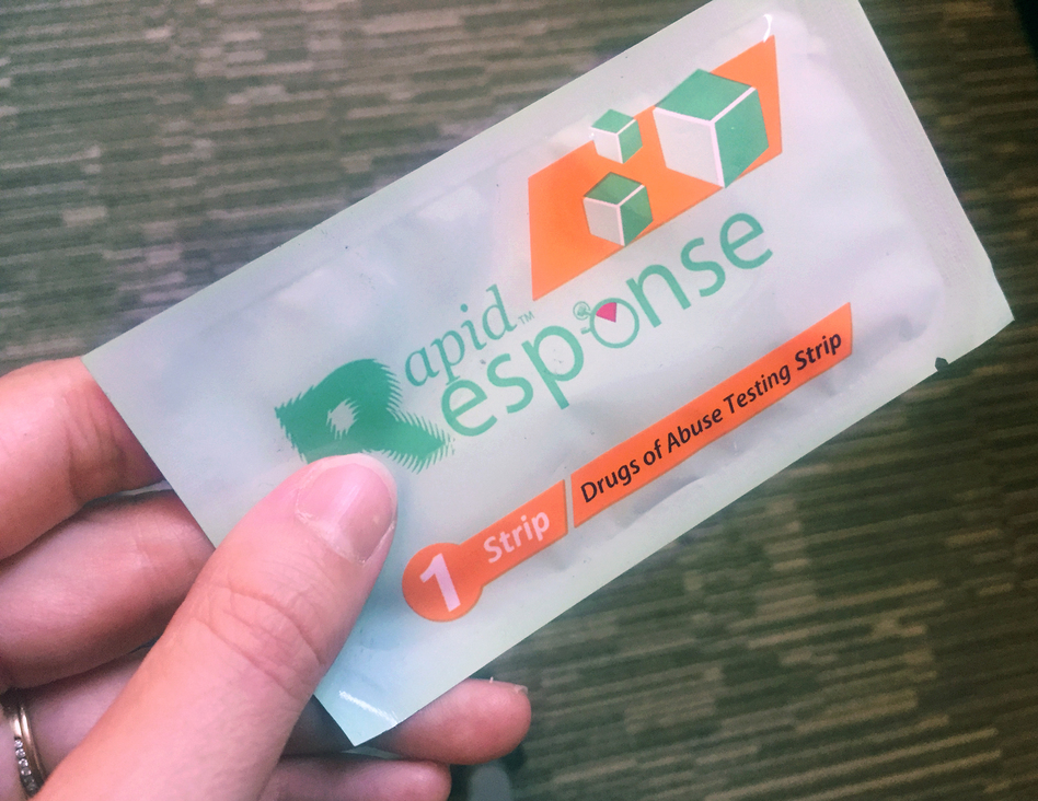 A test strip designed to help doctors check a patient's urine for fentanyl is being distributed in the Bronx to encourage users of heroin or other opioids to check what's in their syringe before they inject. (Mary Harris/WNYC)