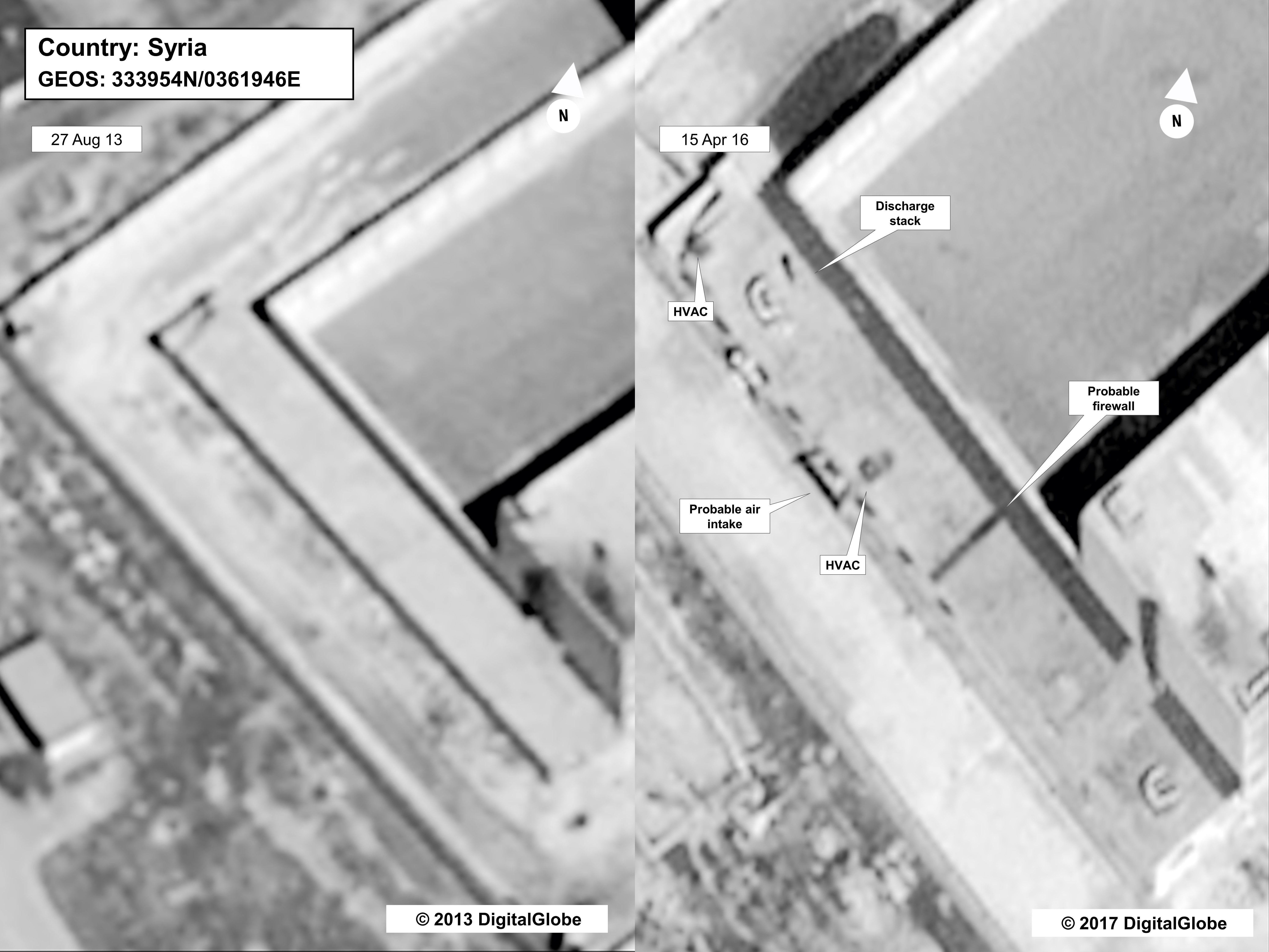 This satellite image depicts the same section of the Saydnaya facility in 2013 (left) and in 2015 (right). 'If you look at the earliest photo,' acting Assistant Secretary Stuart Jones said, 'this is during the construction phase.' He says construction on the alleged crematorium was finished by 2015.     (State Department/DigitalGlobe)