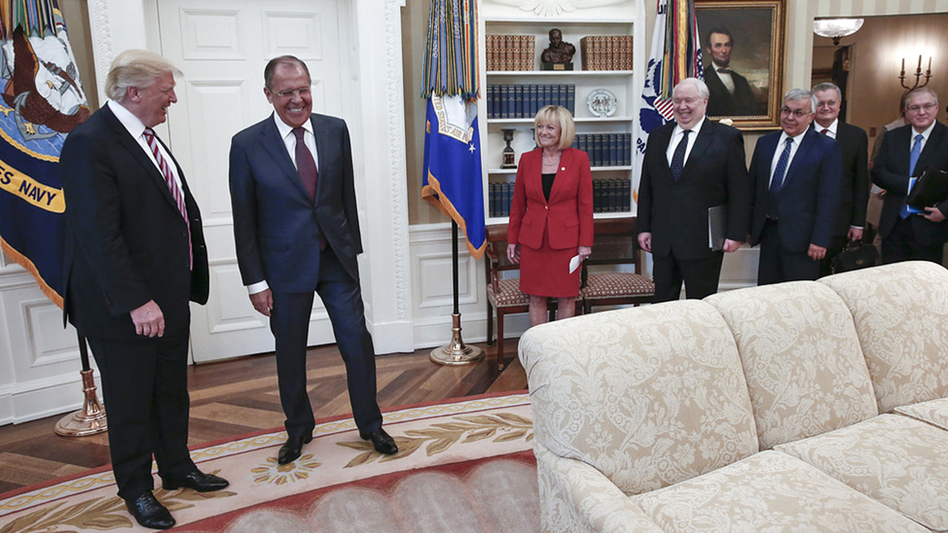 President Trump meets with Russian Foreign Minister Sergey Lavrov in the Oval Office on Wednesday. (Russian Foreign Ministry via AP)