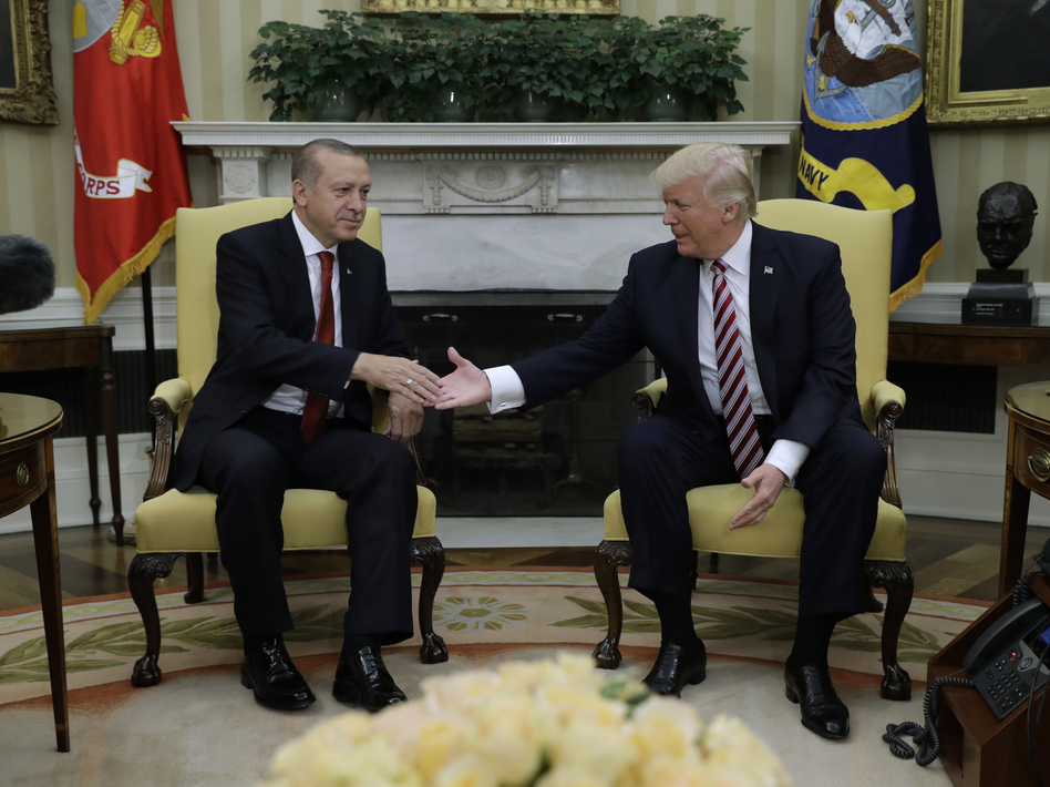 President Trump hosted Turkish President Recep Tayyip Erdogan in Washington on Tuesday. (Evan Vucci/AP)