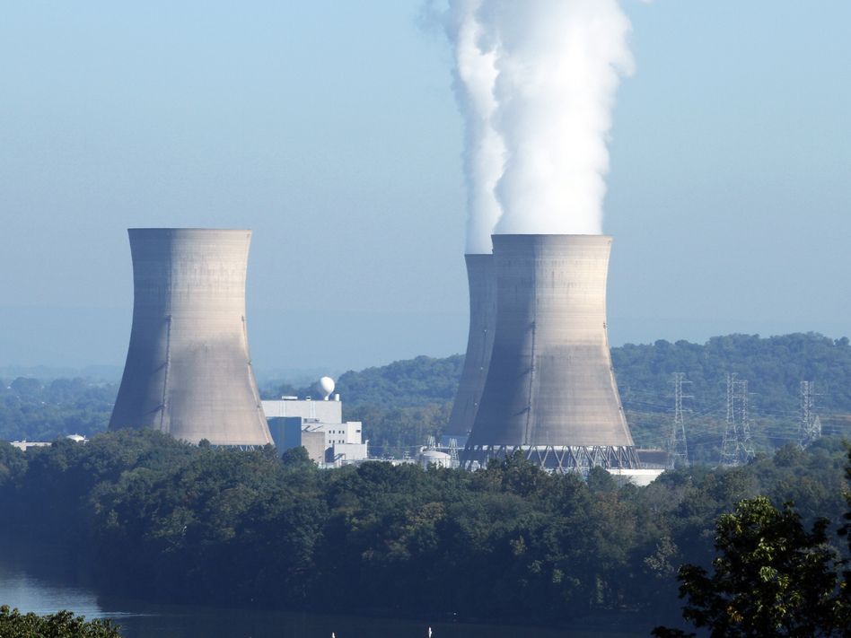 The Three Mile Island nuclear power plant, in Londenderry Township, Pa., was the site of a partial meltdown in 1979. The plant, with its one still-functioning reactor, is having trouble selling its power because it's more expensive than other resources, including natural gas. (John S. Zeedick/AP)