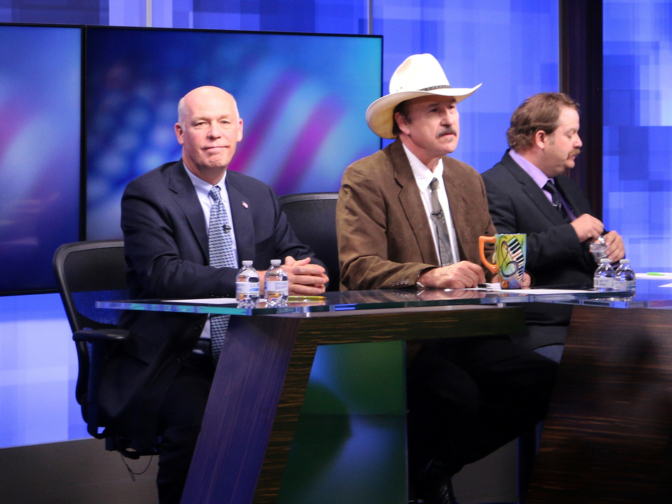 The three candidates, from left, Republican Greg Gianforte, Democrat Rob Quist and Libertarian Mark Wicks, who are vying to fill Montana's only congressional seat. (Bobby Caina Calvan/AP)