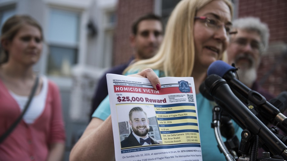Mary Rich, the mother of slain DNC staffer Seth Rich, gives a press conference in Washington, D.C., on Aug. 1, 2016. Seth Rich was gunned down walking through a D.C. neighborhood in July 2016. Some have theorized, without proof, that his death was related to his DNC work.
