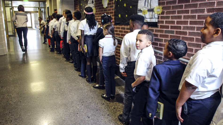 Second-graders line up in the hall at St. Marcus.