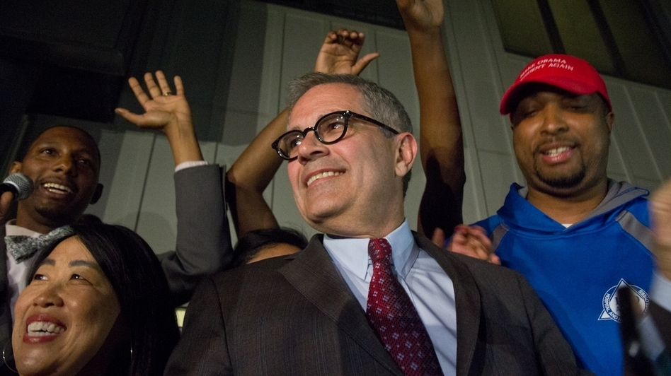 Democratic primary winner Larry Krasner on stage at his campaign party Tuesday night. (Kimberly Paynter/WHYY)