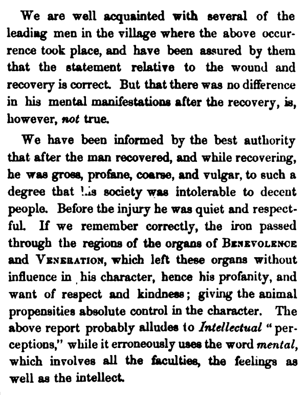 One doctor's account of the personality shift in Phineas Gage following the accident.