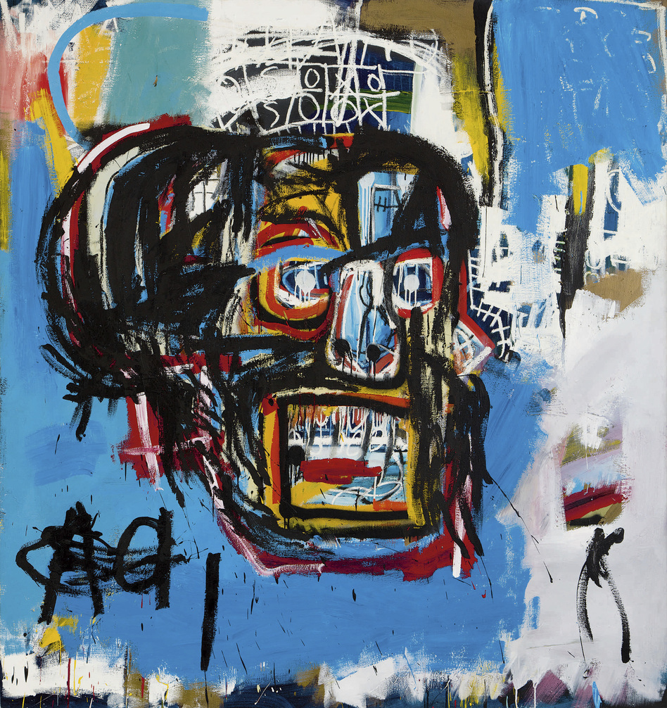 """Jean-Michel Basquiat's <em>Untitled</em> was produced in 1982. The <a href=""""http://www.latimes.com/entertainment/la-et-entertainment-news-updates-may-basquiat-painting-auction-1495159714-htmlstory.html"""">Los Angeles Times says</a> that until shortly before Thursday's auction, it hadn't been shown in public since a private collector bought it for $19,000 in 1984."""