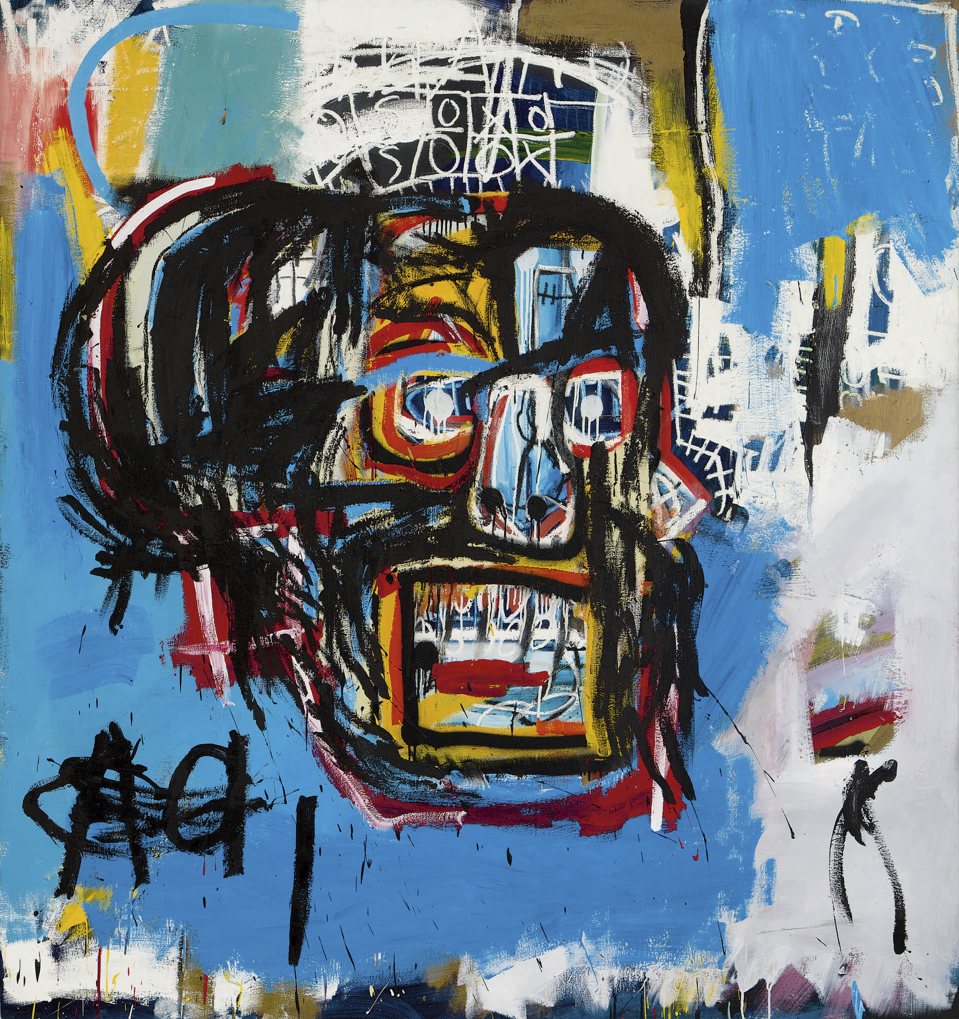 Jean-Michel Basquiat's Untitled. Produced in 1982, the Los Angeles Times says that until shortly before Thursday's auction, it hadn't been shown in public since a private collector bought it for $19,000 in 1984.     AP