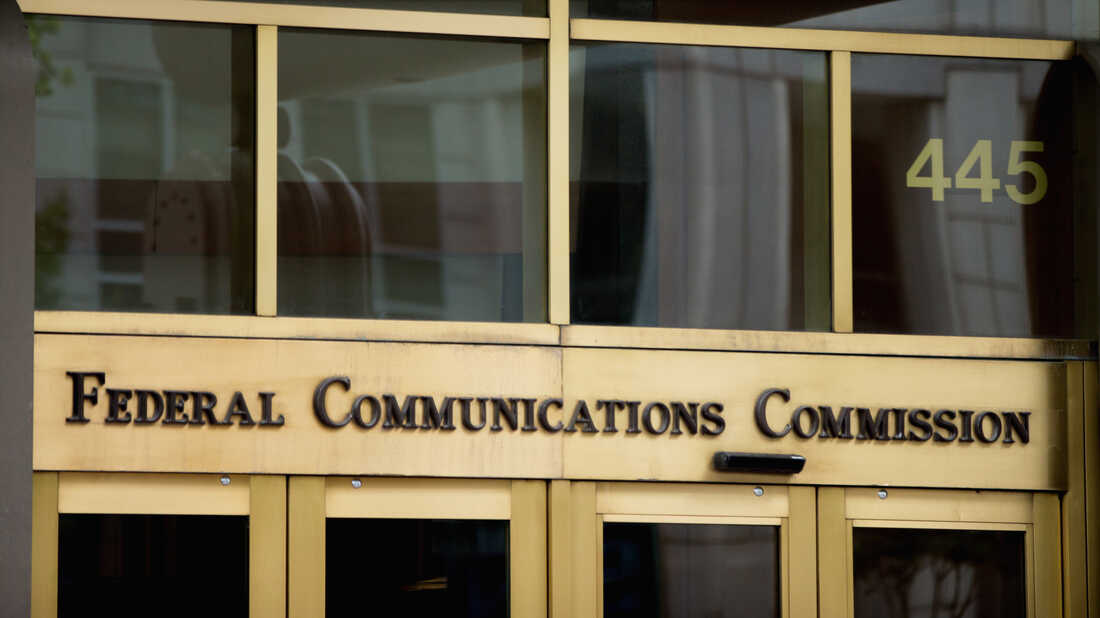 The entrance to the Federal Communications Commission (FCC) building in Washington.