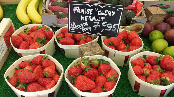 Cléry strawberries are on sale at a market in Paris. Strawberries take over the city