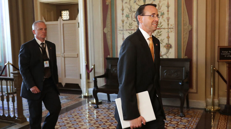 Deputy Attorney General Rod Rosenstein leaves the U.S. Capitol following a closed-door briefing with members of the House of Representatives on Friday. (Chip Somodevilla/Getty Images)