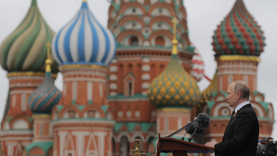 Russian President Vladimir Putin speaks at the Red Square during the Victory Day military parade in Moscow on May 9, 2017. (Yuri Kochetkov/AP)
