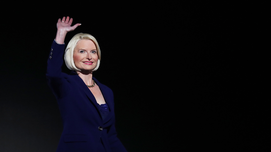 Callista Gingrich, wife of former Speaker of the House Newt Gingrich, waves to the crowd during the third day of the Republican National Convention on July 20, 2016. She was nominated this week as U.S. ambassador to the Holy See.