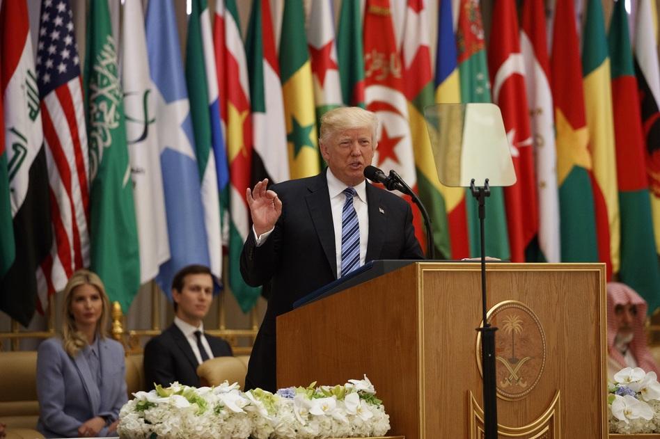 President Trump delivers a speech Sunday to the Arab Islamic American Summit  in Riyadh, Saudi Arabia. (Evan Vucci/AP)