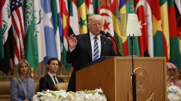 President Trump delivers a speech Sunday to the Arab Islamic American Summit  in Riyadh, Saudi Arabia.