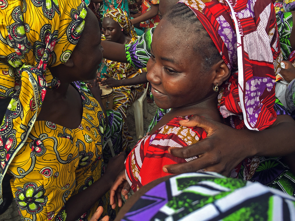 Bonding of the daughters and family members was immediate, emotional and powerful. (Ofeibea Quist-Arcton/NPR)