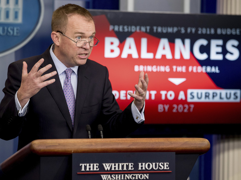 White House Budget Director Mick Mulvaney speaks to the reporters about President Trump's proposed budget on Tuesday. (Andrew Harnik/AP)
