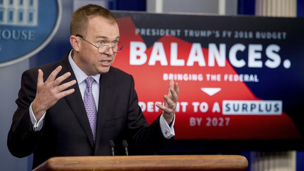 White House Budget Director Mick Mulvaney speaks to the reporters about President Trump