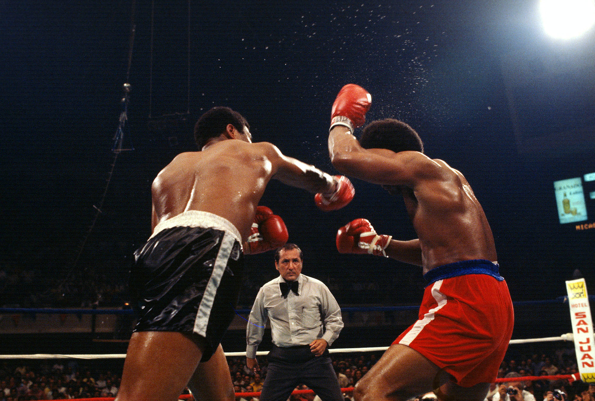 In 1977, Foreman (right) had a chance to regain his title in a fight against Jimmy Young (left). Young won the fight with a 12-round unanimous decision. (Focus On Sport/Getty Images)