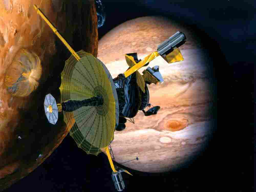 The Galileo mission, from Oct. 1989 to Sept. 2003, yielded many discoveries. Galileo is seen here in a drawing by NASA.