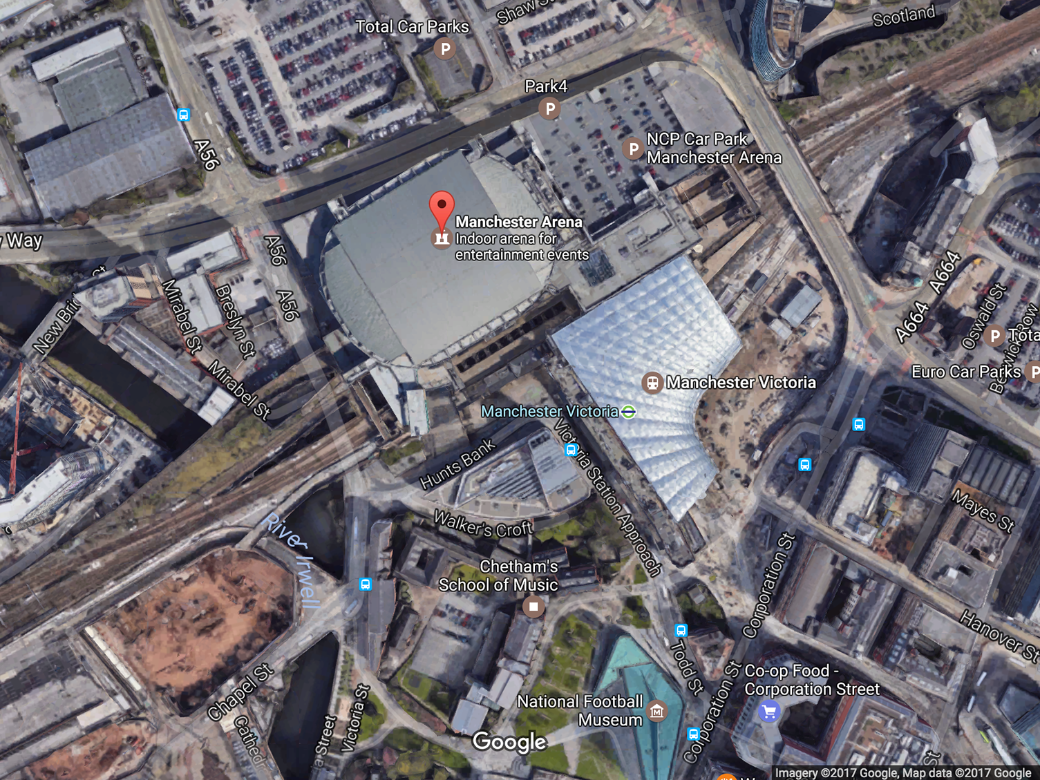 A terrorist bomber struck in the center of Manchester, police say, in the area between the exits of Manchester Arena and the Victoria transit station.     (Google Maps)