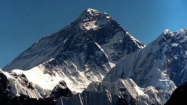Mount Everest as seen from peak Gokyo Ri in Nepal.