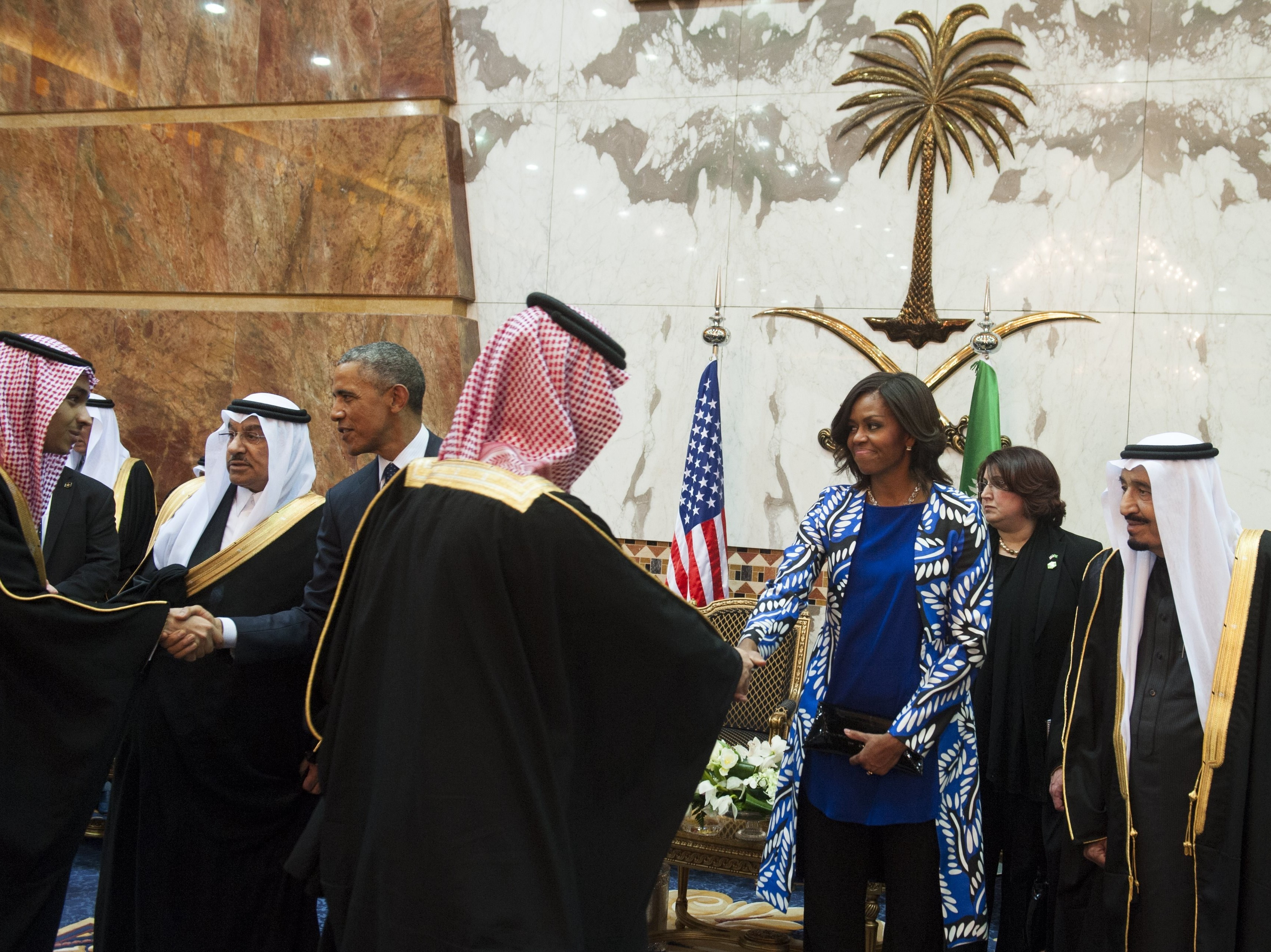 President Trump had criticized then-first lady Michelle Obama for not wearing a headscarf while in Riyadh, Saudi Arabia, in 2015.     (Saul Loeb/AFP/Getty Images)