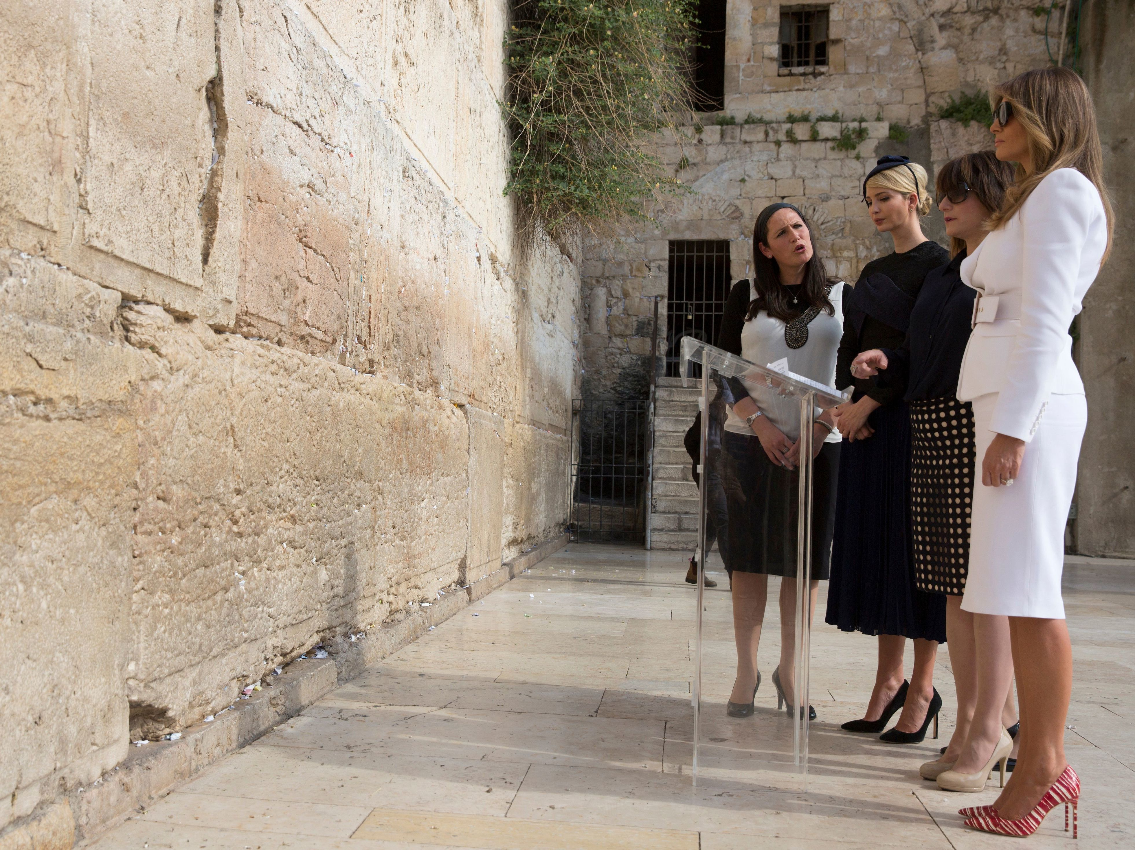 Ivanka Trump wore a hat during a visit to the Western Wall in Jerusalem with the first lady, as it is customary for observant Jewish women to cover their hair.     (Heidi Levine/AFP/Getty Images)